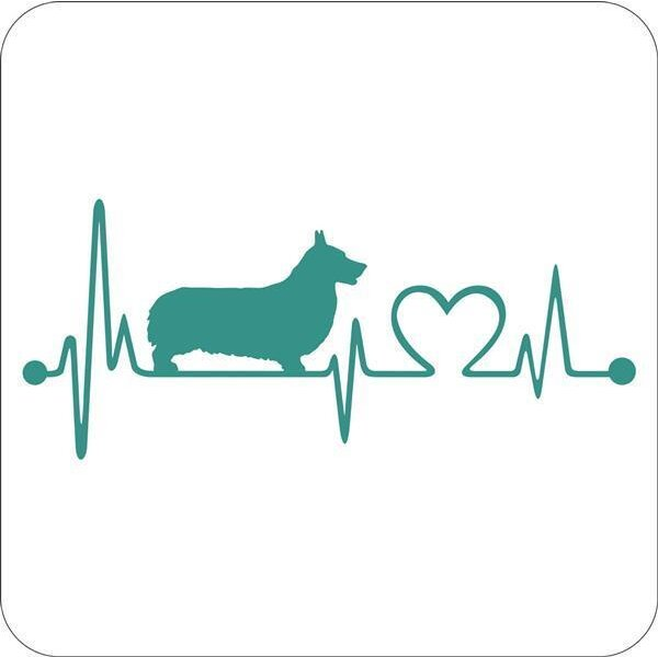 Aufkleber Corgie Heartbeat